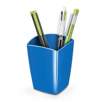 Pojemnik na długopisy Pro Gloss polistyren niebieski, Przyborniki na biurko, Drobne akcesoria biurowe