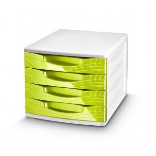 Zestaw 4 szufladek CEP Origins, zielony, Szufladki - zestawy, Drobne akcesoria biurowe