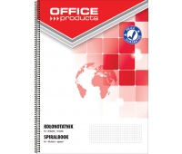 Spiral Notebook OFFICE PRODUCTS, A4, square ruled, 80sheets, 60-80gsm, perforation