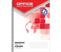 Kołonotatnik OFFICE PRODUCTS, A4, w kratkę, 80 kart., 60-80gsm, perforacja, Kołonotatniki, Zeszyty i bloki