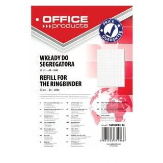 Wkład do segregatora OFFICE PRODUCTS, A4, w kratkę, 50 kart., biały, Wkłady do segregatora, Papier i etykiety