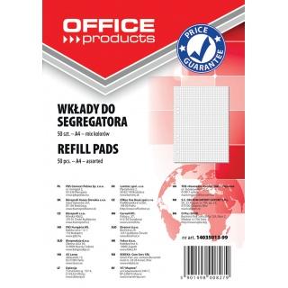 Wkład do segregatora OFFICE PRODUCTS, A4, w kratkę, 50 kart., mix kolorów, Wkłady do segregatora, Papier i etykiety