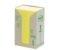 Eco-friendly Self-adhesive Pad POST-IT® (653-1T), 38x51mm, 24x100 sheets, yellow