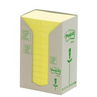 Eco-friendly Self-adhesive Pad POST-IT® (653-1T) 38x51mm 24x100 sheets yellow