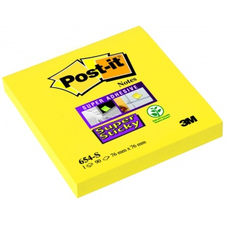 Bloczek samoprzylepny POST-IT® Super Sticky (654-S), 76x76mm, 1x90 kart., żółty