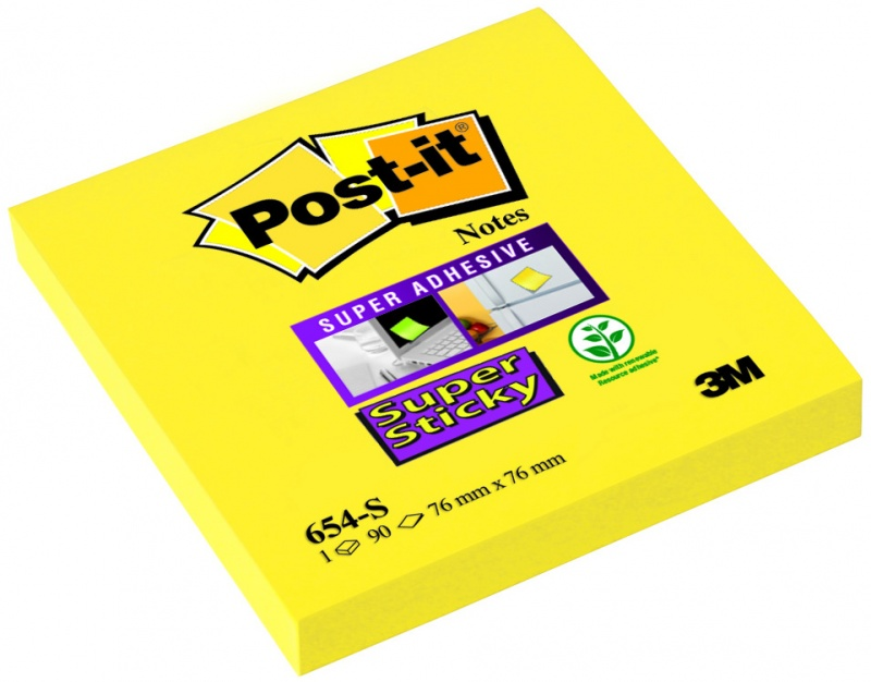 Bloczek samoprzylepny POST-IT® Super Sticky (654-S), 76x76mm, 1x90 kart., żółty