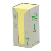 Eco-friendly Self-adhesive Pad POST-IT® (654-1T), 76x76mm, 16x100 sheets, yellow