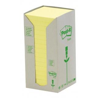 Bloczek samoprzylepny ekologiczny POST-IT® (654-1T), 76x76mm, 16x100 kart., żółty