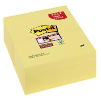 Bloczek samoprzylepny POST-IT® Super Sticky (655-P12SSCY-EU), 127x76xmm, 10+2x90 kart., żółty, 2 bloczki GRATIS