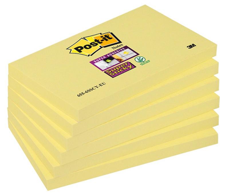 Bloczek samoprzylepny POST-IT® Super Sticky (655-S), 127x76mm, 1x90 kart., żółty