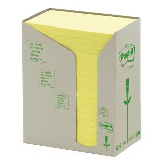 Bloczek samoprzylepny ekologiczny POST-IT® (655-1T), 16x100 kart., 127x76mm, żółty