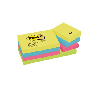 Bloczek samoprzylepny POST-IT® (653-TFEN), 38x51mm, 12x100 kart., paleta energetyczna