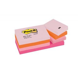 Bloczek samoprzylepny POST-IT® (653-FLJO), 38x51mm, 12x100 kart., paleta radosna