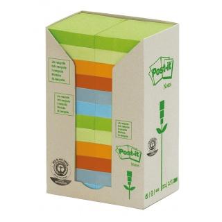 Bloczek samoprzylepny ekologiczny POST-IT® (653-1RPT), 38x51mm, 24x100 kart., pastelowy