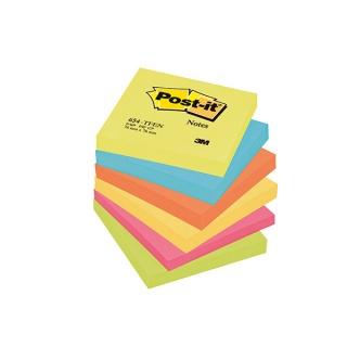 Bloczek samoprzylepny POST-IT® (654-TFEN), 76x76mm, 6x100 kart., paleta energetyczna