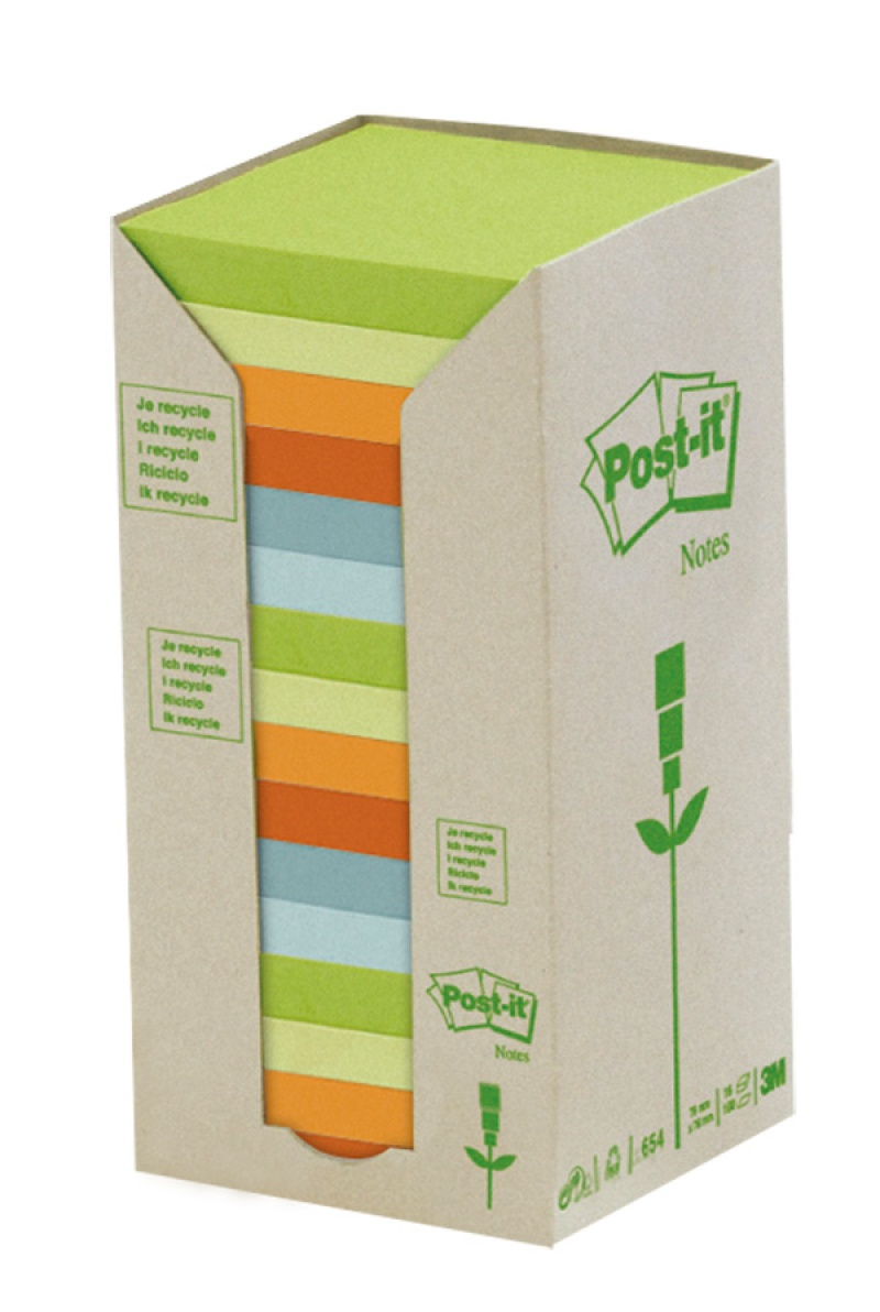 Bloczek samoprzylepny ekologiczny POST-IT® (654-1RPT), 76x76mm, 16x100 kart., pastelowy