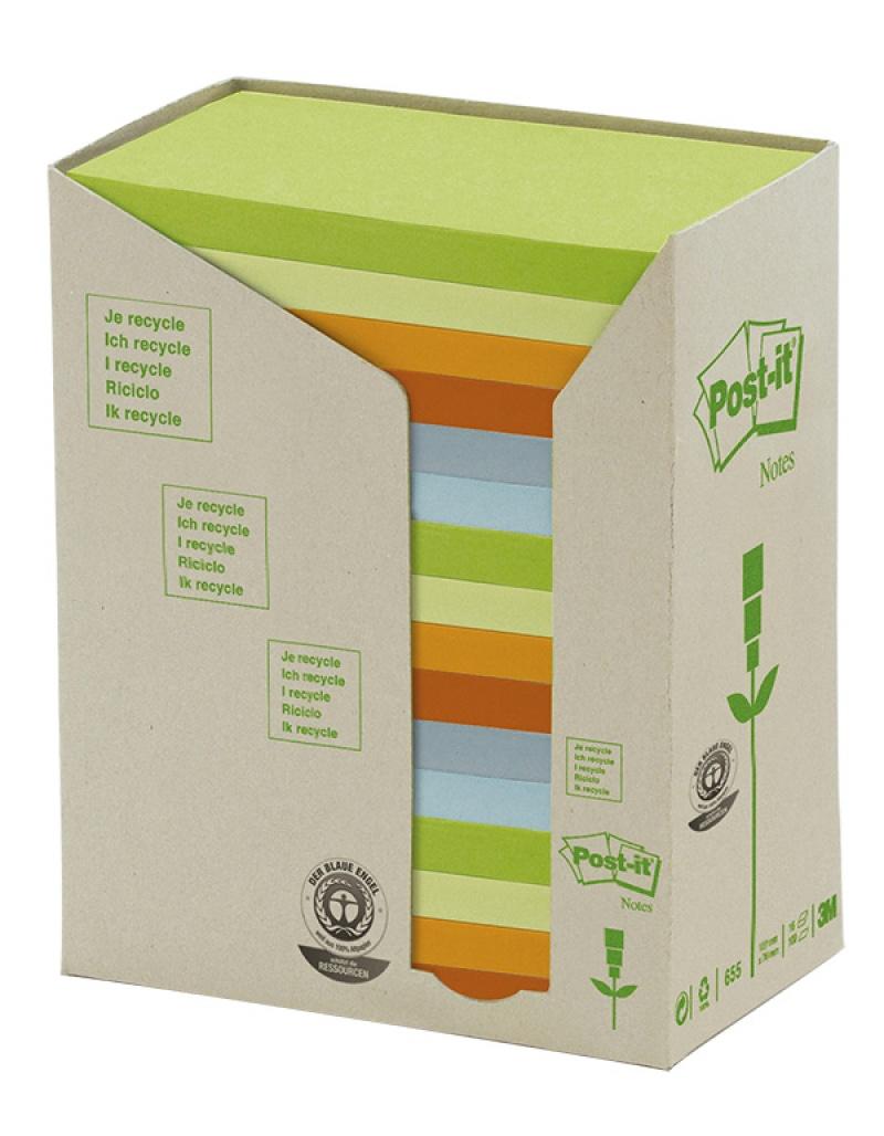 Bloczek samoprzylepny ekologiczny POST-IT®(655-1RPT), 127x76mm, 16x100 kart., pastelowy