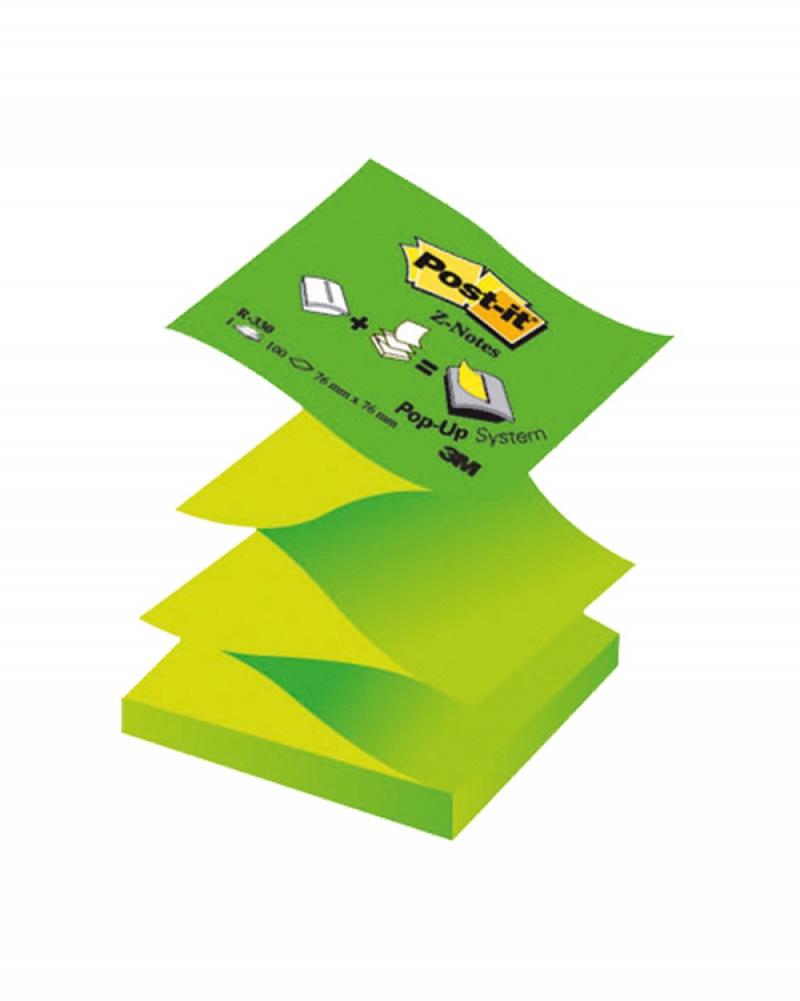 Bloczek samoprzylepny POST-IT® Z-Notes (R330NAG), 76x76mm, 1x100 kart., pastelowy/neonowy zielony