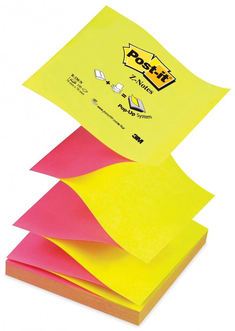 Bloczek samoprzylepny POST-IT® Z-Notes (R330-NA), 76x76mm, 1x100 kart., jaskrawy żółto-różowy