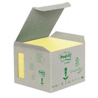 Bloczek samoprzylepny ekologiczny POST-IT® Z-notes (R330-1B), 76x76mm, 6x100 kart., żółty