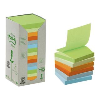 Bloczek ekologiczne POST-IT® Z-notes (R330 - 1RPT), 76x76mm, 16x100 kart., pastelowy, Bloczki samoprzylepne, Papier i etykiety