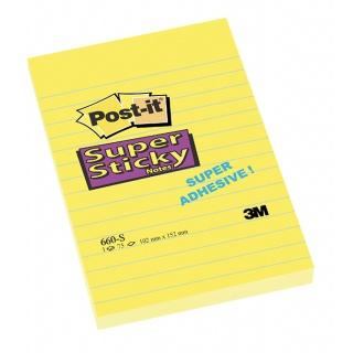 Bloczek samoprzylepny POST-IT® Super Sticky (660-S), 102x152mm, 1x75 kart., żółty