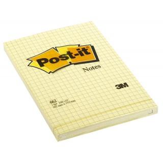 Bloczek samoprzylepny POST-IT® w kratkę (662), 102x152mm, 1x100 kart., żółty