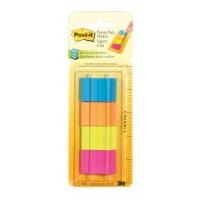 Znaczniki POST-IT® w podajniku (672-P1), papier, 25,4x38mm, 4x50 kart., mix kolorów neonowy