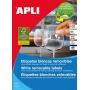 Etykiety usuwalne APLI 17,8x10,0mm, zaokrąglone, białe, 25 ark., Etykiety samoprzylepne, Papier i etykiety