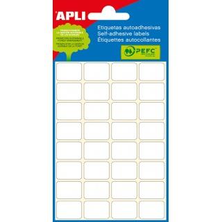 Etykiety do pisania ręcznego APLI, 12x18mm, zaokrąglone, białe, mini-bag 6 ark., Etykiety samoprzylepne, Papier i etykiety