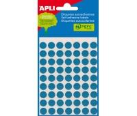 Etykiety do pisania ręcznego APLI, 13mm, kółka, niebieskie, mini-bag 5 ark., Etykiety samoprzylepne, Papier i etykiety