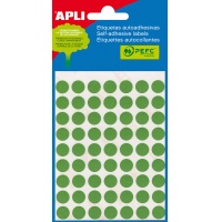 Etykiety do pisania ręcznego APLI, 13mm, kółka, zielone, mini-bag 5 ark., Etykiety samoprzylepne, Papier i etykiety