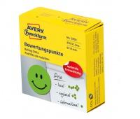 Kółka z symbolami do zaznaczania w dyspenserze 'Uśmiechnięta buźka', trwałe, 250 szt. / rolka, Ø19 mm, zielone, Avery Zweckform, Etykiety samoprzylepne, Papier i etykiety