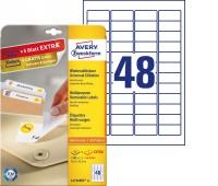Usuwalne etykiety uniwersalne Avery Zweckform; A4, 30 ark./op., 45,7 x 21,2 mm, białe, Etykiety samoprzylepne, Papier i etykiety
