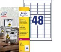 Etykiety Heavy Duty Avery Zweckform; A4, 20 ark./op., 45,7 x 21,2 mm, białe, poliestrowe, Etykiety samoprzylepne, Papier i etykiety