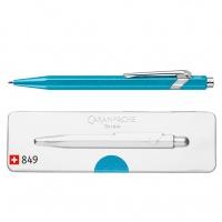 Długopis CARAN D'ACHE 849 Pop Line Metal-X, M, w pudełku, turkusowy, Długopisy, Artykuły do pisania i korygowania