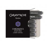 Naboje CARAN D'ACHE Chromatics Idyllic Blue, 6szt., niebieskie, Pióra, Artykuły do pisania i korygowania