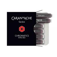 Naboje CARAN D'ACHE Chromatics Infra Red, 6szt., czerwone, Pióra, Artykuły do pisania i korygowania