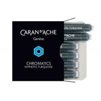 Naboje CARAN D'ACHE Chromatics Hypnotic Turquoise, 6szt., turkusowe, Pióra, Artykuły do pisania i korygowania