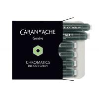 Naboje CARAN D'ACHE Chromatics Delicate Green, 6szt., jasnozielone, Pióra, Artykuły do pisania i korygowania