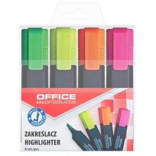 Zakreślacz fluorescencyjny OFFICE PRODUCTS, 1-5mm (linia), 4szt., mix kolorów, Textmarkery, Artykuły do pisania i korygowania