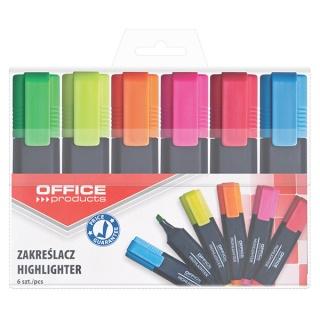 Zakreślacz fluorescencyjny OFFICE PRODUCTS, 1-5mm (linia), 6szt., mix kolorów, Textmarkery, Artykuły do pisania i korygowania