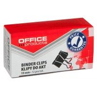Klipy do dokumentów OFFICE PRODUCTS, 19mm, 12szt., czarne, Klipy, Drobne akcesoria biurowe