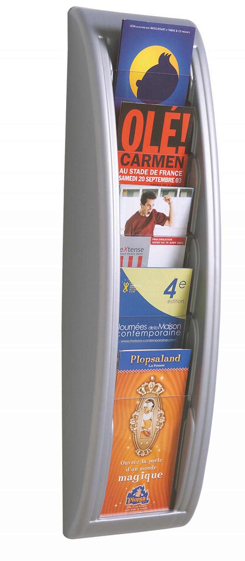 Zestaw naścienny PAPERFLOW, 5 półek, 1/3 A4, srebrny, Półki, Drobne akcesoria biurowe