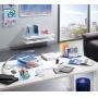 Lampka na biurko CEP CLED-600, 9, 5W, ze ściemniaczem i portem USB, srebrno-niebieska, Lampki, Urządzenia i maszyny biurowe