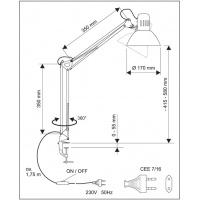 Lampka energooszczędna na biurko MAULstudy, bez żarówki, mocowana zaciskiem, srebrna, Lampki, Urządzenia i maszyny biurowe