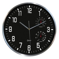 Wall Clock CEP Thermo-hygro, 30cm, black