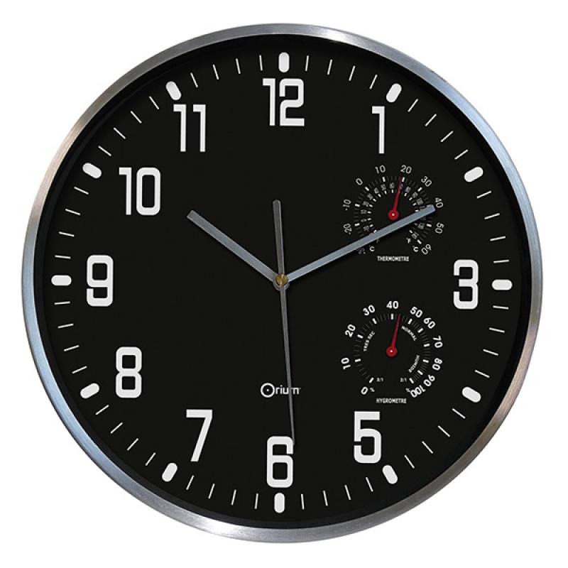 Zegar ścienny CEP Thermo-hygro, 30cm, czarny, Zegary, Wyposażenie biura