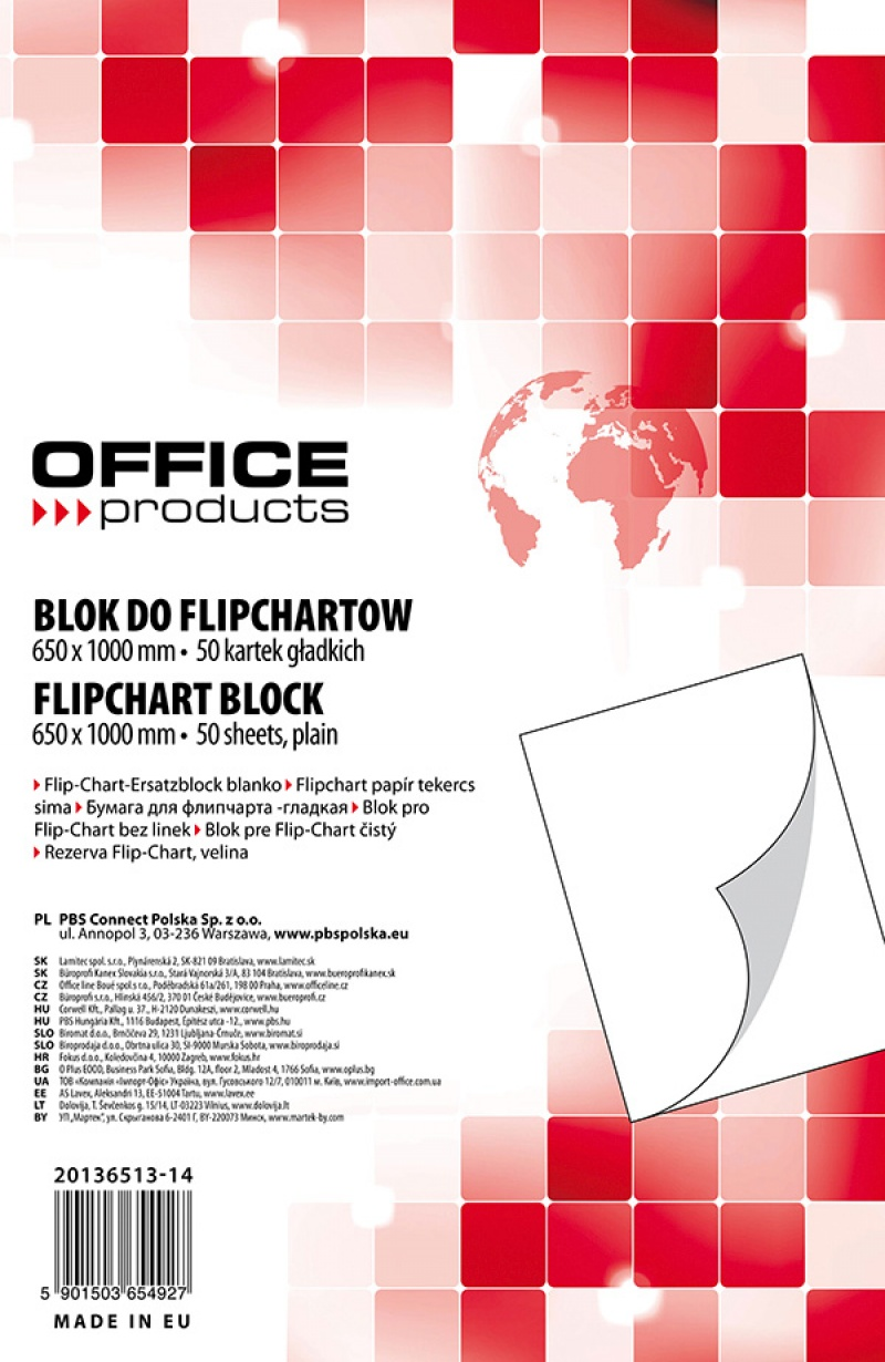 Blok do flipchartów OFFICE PRODUCTS, gładki, 65x100cm, 50 kart., biały, Bloki, magnesy, gąbki, spraye do tablic, Prezentacja