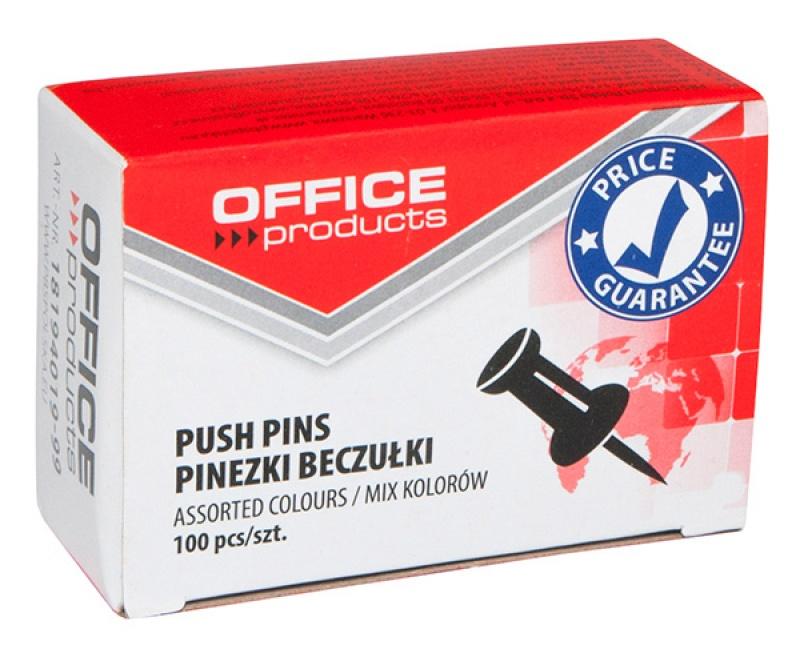 Pinezki beczułki OFFICE PRODUCTS, 100szt., mix kolorów, Pinezki, Drobne akcesoria biurowe